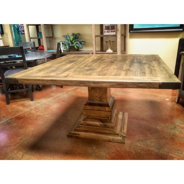 Square Wood Dining Table Alder – La Casona Custom Furnitu