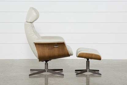 Amala Bone Leather Reclining Swivel Chair With Adjustable Headrest .