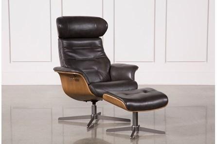 Amala Dark Grey Reclining Swivel Chair with Adjustable Headrest .