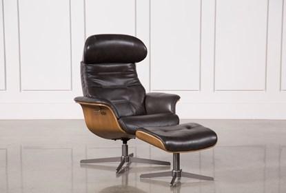 Amala Dark Grey Leather Reclining Swivel Chair With Adjustable .