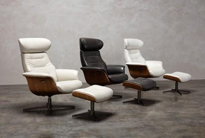 Amala White Leather Ottoman | Living Spac