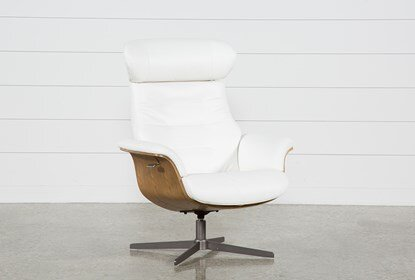 Amala White Leather Reclining Swivel Chair With Adjustable .