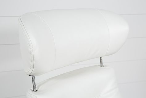 Amala White Reclining Swivel Chair with Adjustable Headrest And .