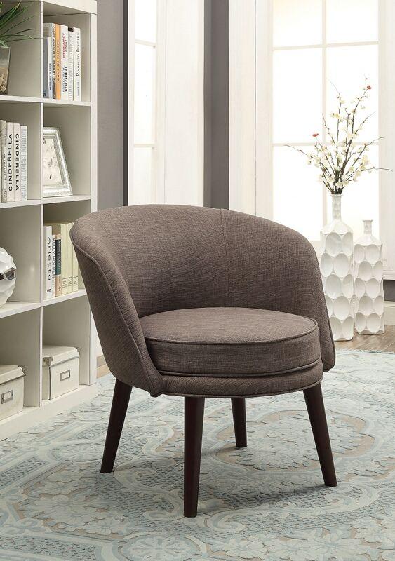 Acme 59740 Amari gray stone linen fabric barrel back accent chair .