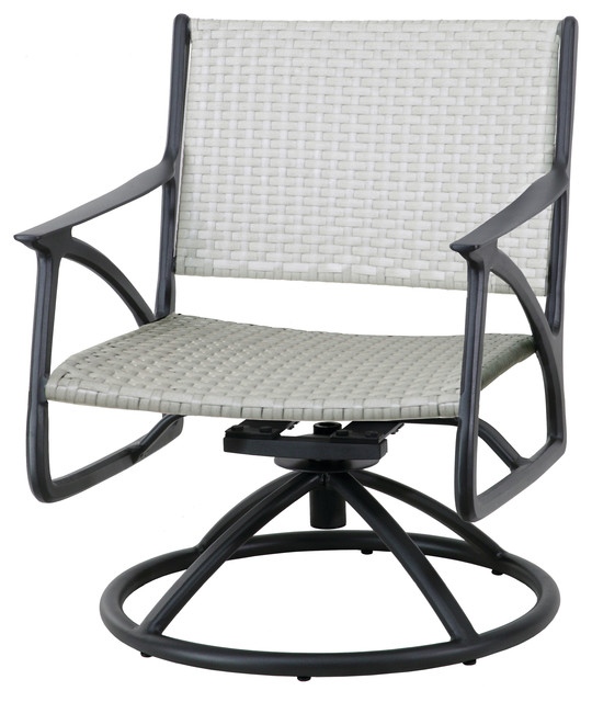 Amari Woven Swivel Rocking Lounge Chairs, Set of 2, Carbon, Mist .