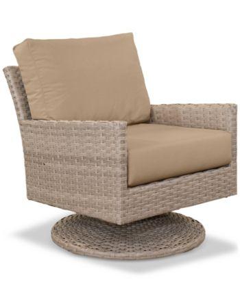 Furniture Amari Parchment Outdoor Swivel Chair With Sunbrella .