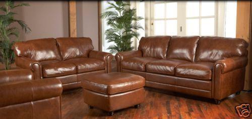 New Luke Leather Italian Brown Down Sofa Set Sofa Loveseat Chair .