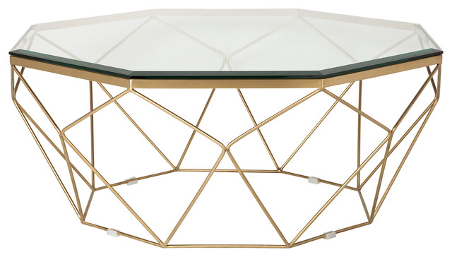 Marlow Antique Brass Coffee Table - Contemporary - Coffee Tables .