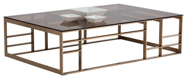 Joanna Coffee Table, Rectangular, Antique Brass, Brown Glass .