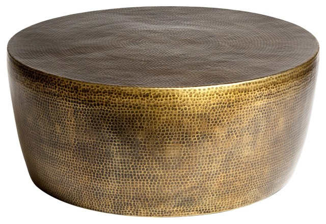 Izmir Hammered Cocktail Table, Antique Brass - Contemporary .