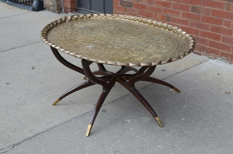 Large Vintage Brass Tray Coffee Table on Midcentury Folding Base .
