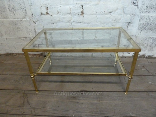 Antiques Atlas - Vintage Brass Coffee Table With Glass Shelv