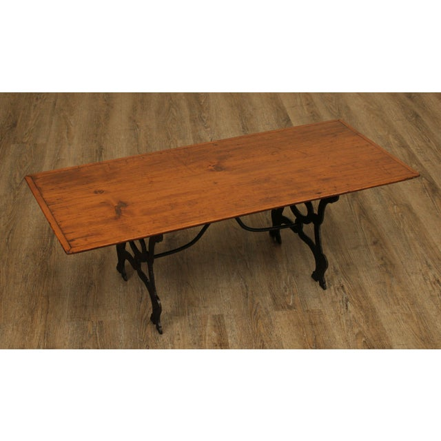 Antique Pine Top Wrought Iron Base Coffee Table | Chairi
