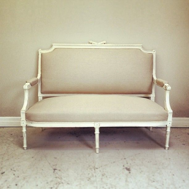 Louis XVI style antique settee recovered Lime White distressed .
