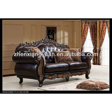 Home furniture wooden sofa faux leather antique sofa | Global Sourc