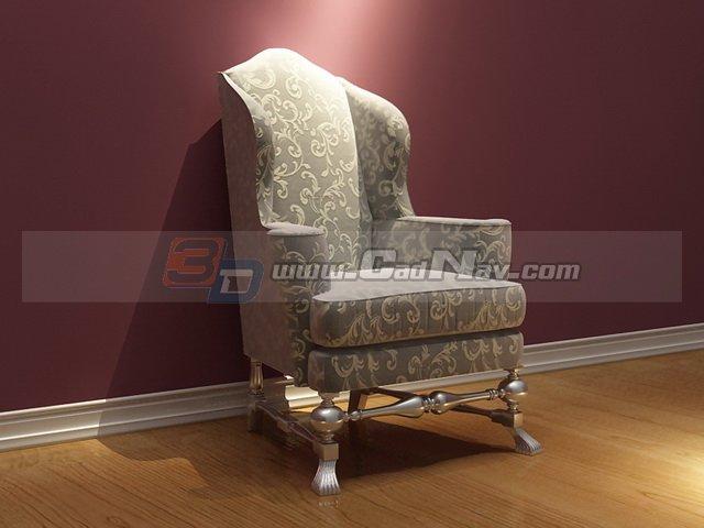 Vintage French Fabric Sofa Chair 3d model - CadN