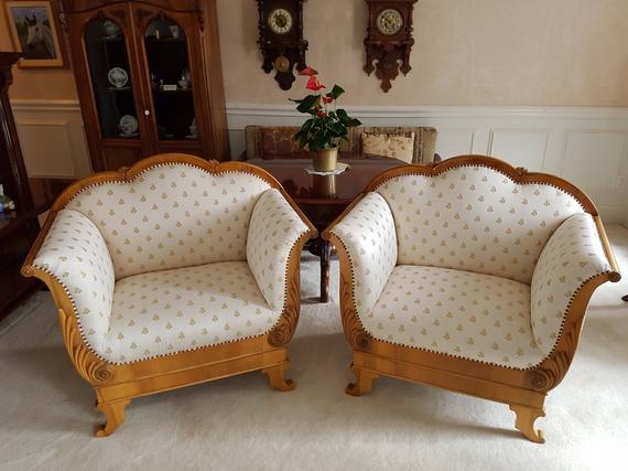 Antique Sofa Chairs Circa 1830 Biedermeier Walnut German | Et
