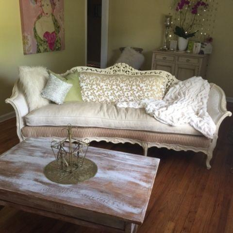 Gorgeous Updated Antique Sofa with Coordinating Chairs for Sale in .
