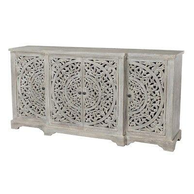 "72"" Sideboard Buffet Cabinet Solid Mango Wood 4 Door Antique White ."