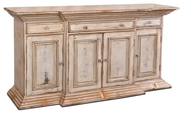Landon Venetian 4 Door / 3 Drawer Sideboard - Antique White .