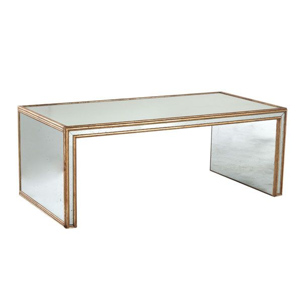 Mirrored coffee table framed w/ gilded wood, gorgeous! | Art deco .