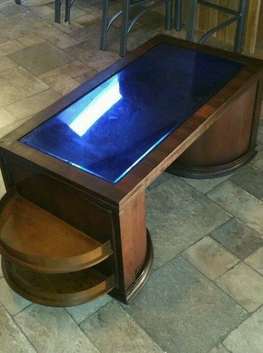 Art deco speakeasy bar cabinet coffee table. The top is cobalt .