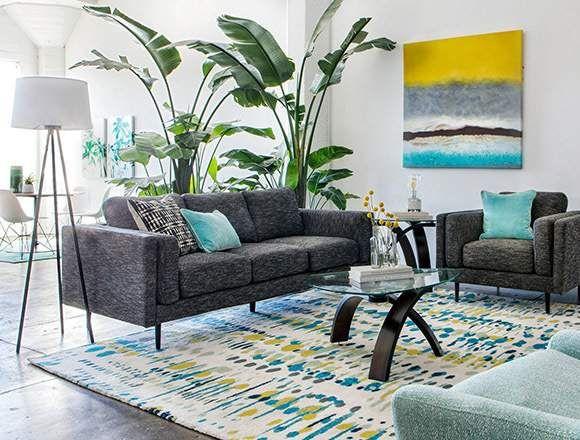 coastal Living Room with Aquarius Dark Grey Sofa   Gray sofa .