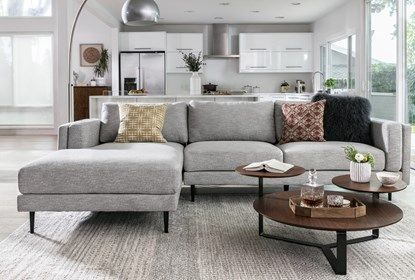 Aquarius Light Grey 2 Piece Sectional W/Laf Chaise - Room | Living .