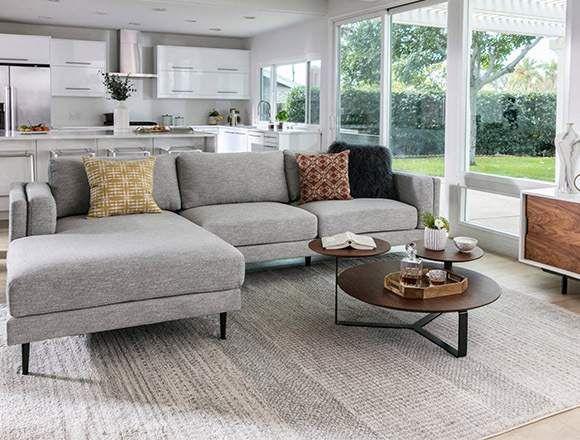 Mid Century Living room with Aquarius Light Grey 2 Piece S .