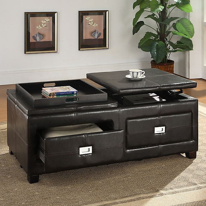 Baxton Studio Lift-top Cocktail Ottoman Table in Dark Brown | Bed .
