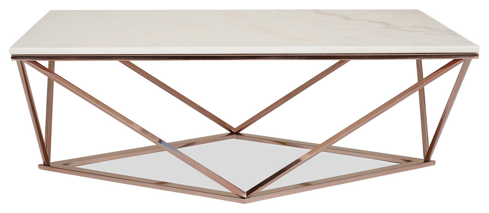 Aria Rose Gold Coffee Table With White Marble Top - Modern .