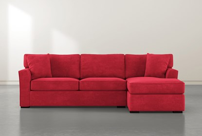 Aspen Down Red 2 Piece Sectional With Right Facing Chaise | Living .