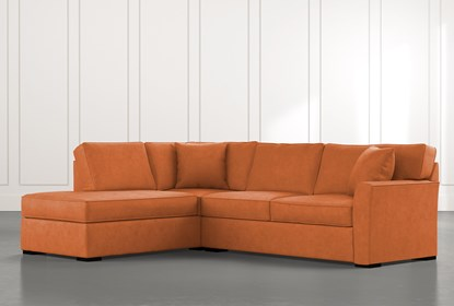 Aspen Orange 2 Piece Sectional with Left Arm Facing Chaise .