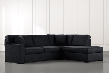 Aspen Black 2 Piece Sectional with Right Arm Facing Chaise .