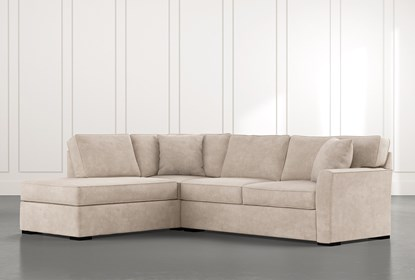 Aspen Beige 2 Piece Sleeper Sectional with Left Arm Facing Chaise .