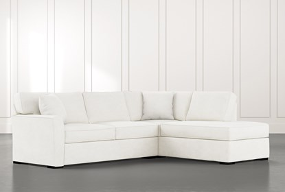 Aspen White 2 Piece Sleeper Sectional with Right Arm Facing Chaise .