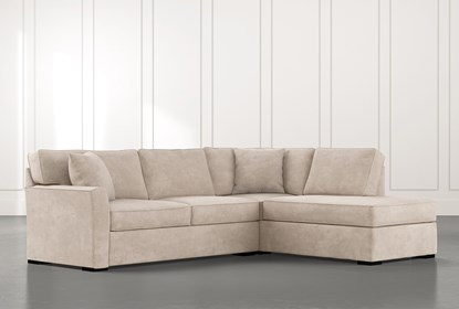 Aspen Beige 2 Piece Sleeper Sectional with Right Arm Facing Chaise .