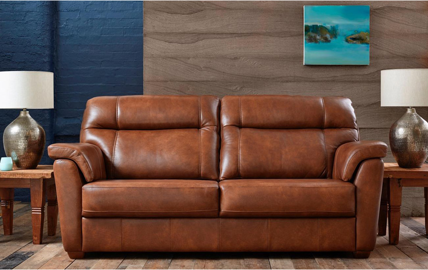 Aspen leather 3 seater sofa | Goodyear Furnitu