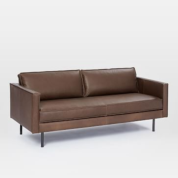 """Axel 76"""" Sofa, Parc Leather, Cement 