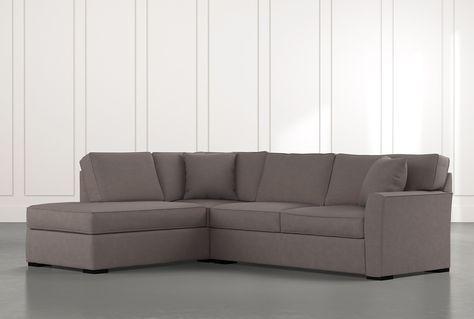 Aspen Dark Grey 2 Piece Sleeper Sectional Sofa with left facing .