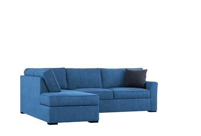 Aspen Navy Blue 2 Piece Sleeper Sectional Sofa with left facing .