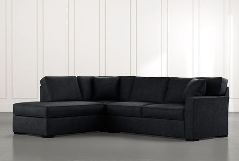 Aspen Black 2 Piece Sleeper Sectional Sofa with left facing Chaise .