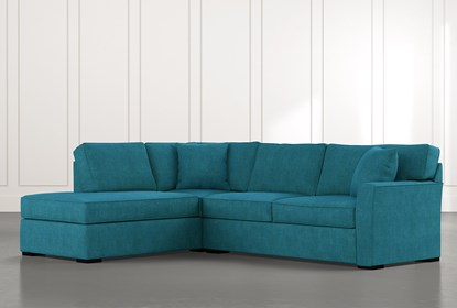 Aspen Teal 2 Piece Sleeper Sectional with Left Arm Facing Chaise .