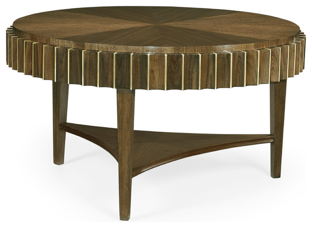 Round Autumn Walnut Reeded Coffee Table - Midcentury - Coffee .