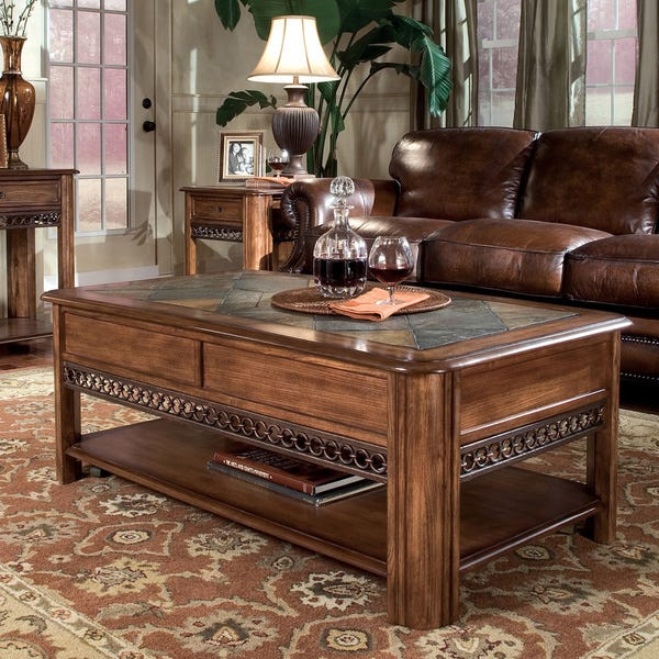 Shop Madison Rustic Warm Nutmeg Lift Top Coffee Table with Casters .