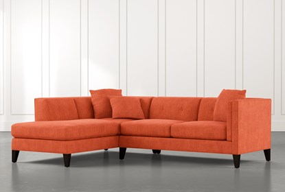 Avery II Orange 2 Piece Sectional with Left Arm Facing Armless .