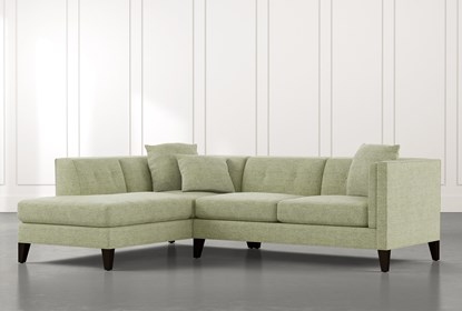 Avery II Green 2 Piece Sectional with Left Arm Facing Armless .