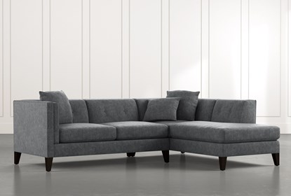 Avery II Dark Grey 2 Piece Sectional with Right Arm Facing Armless .