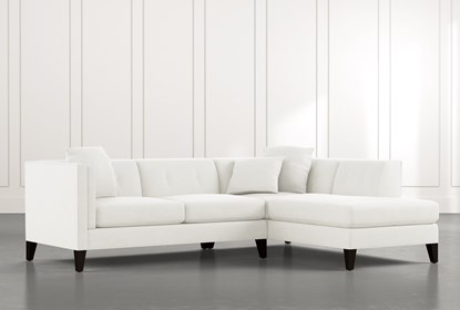Avery II White 2 Piece Sectional with Right Arm Facing Armless .