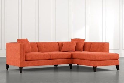 Avery II Orange 2 Piece Sectional with Right Arm Facing Armless .